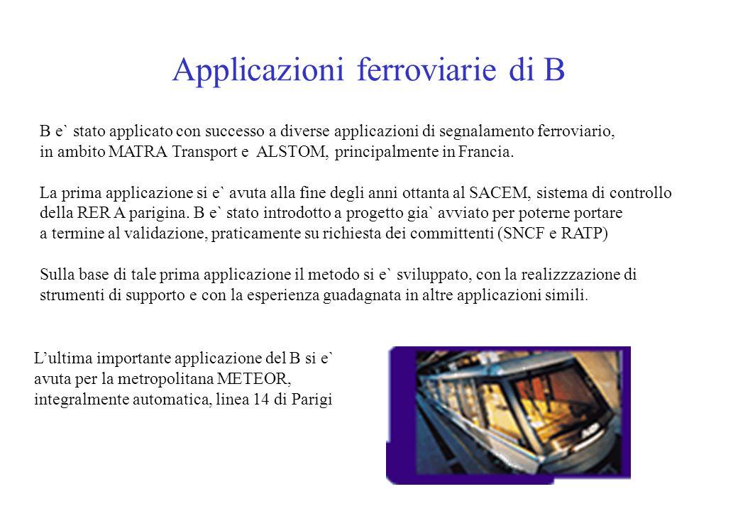 Applicazioni ferroviarie di B B e` stato applicato con successo a diverse applicazioni di segnalamento ferroviario, in ambito MATRA Transport e ALSTOM, principalmente in Francia.