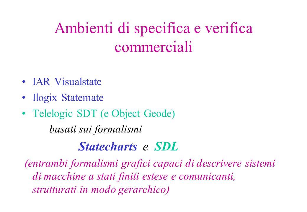 Ambienti di specifica e verifica commerciali IAR Visualstate Ilogix Statemate Telelogic SDT (e Object Geode) basati sui formalismi Statecharts e SDL (entrambi formalismi grafici capaci di descrivere sistemi di macchine a stati finiti estese e comunicanti, strutturati in modo gerarchico)