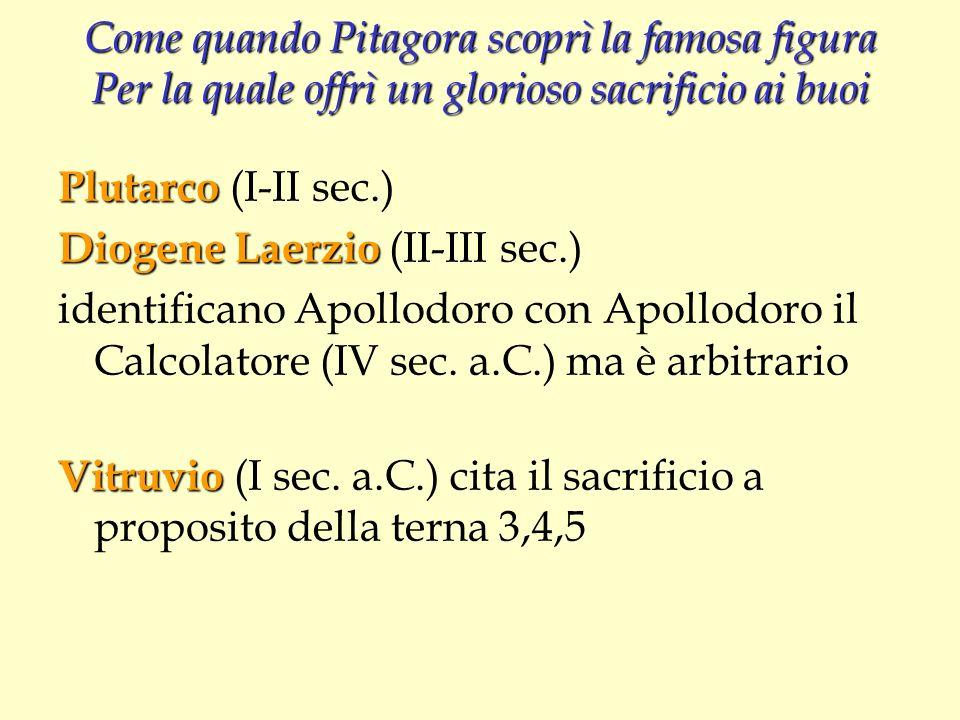 Come quando Pitagora scoprì la famosa figura Per la quale offrì un glorioso sacrificio ai buoi Plutarco Plutarco (I-II sec.) Diogene Laerzio Diogene L