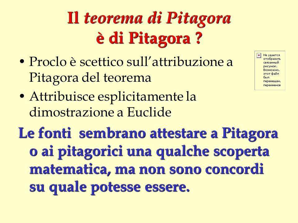 Il teorema di Pitagora è di Pitagora ? Proclo è scettico sullattribuzione a Pitagora del teorema Attribuisce esplicitamente la dimostrazione a Euclide
