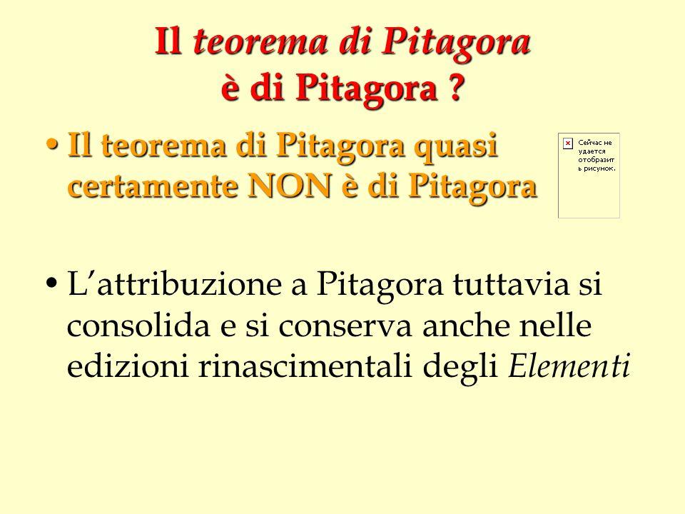 Il teorema di Pitagora è di Pitagora ? Il teorema di Pitagora quasi certamente NON è di Pitagora Il teorema di Pitagora quasi certamente NON è di Pita