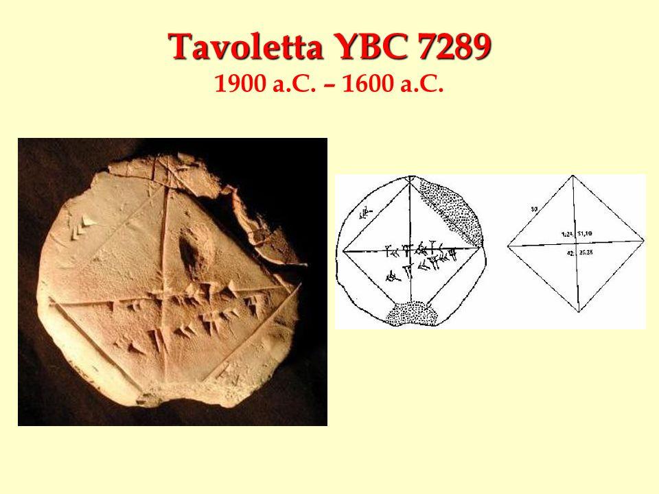 Tavoletta YBC 7289 Tavoletta YBC 7289 1900 a.C. – 1600 a.C.