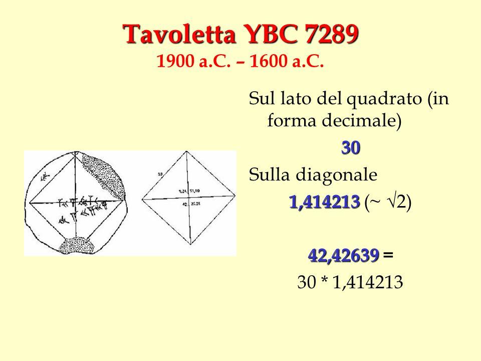 Sul lato del quadrato (in forma decimale)30 Sulla diagonale 1,414213 1,414213 (~ 2) 42,42639 42,42639 = 30 * 1,414213
