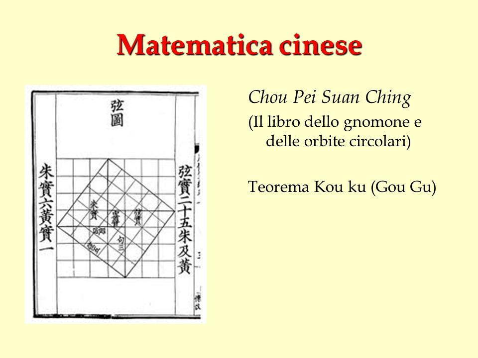 Matematica cinese Chou Pei Suan Ching (Il libro dello gnomone e delle orbite circolari) Teorema Kou ku (Gou Gu)
