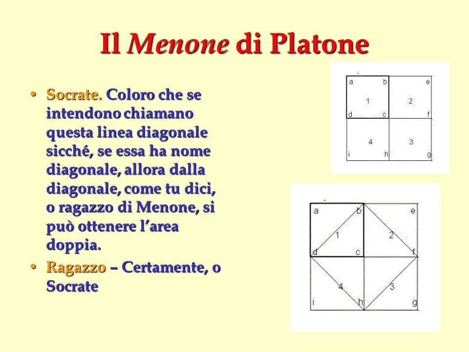 Il Menone di Platone Socrate. Coloro che se intendono chiamano questa linea diagonale sicché, se essa ha nome diagonale, allora dalla diagonale, come