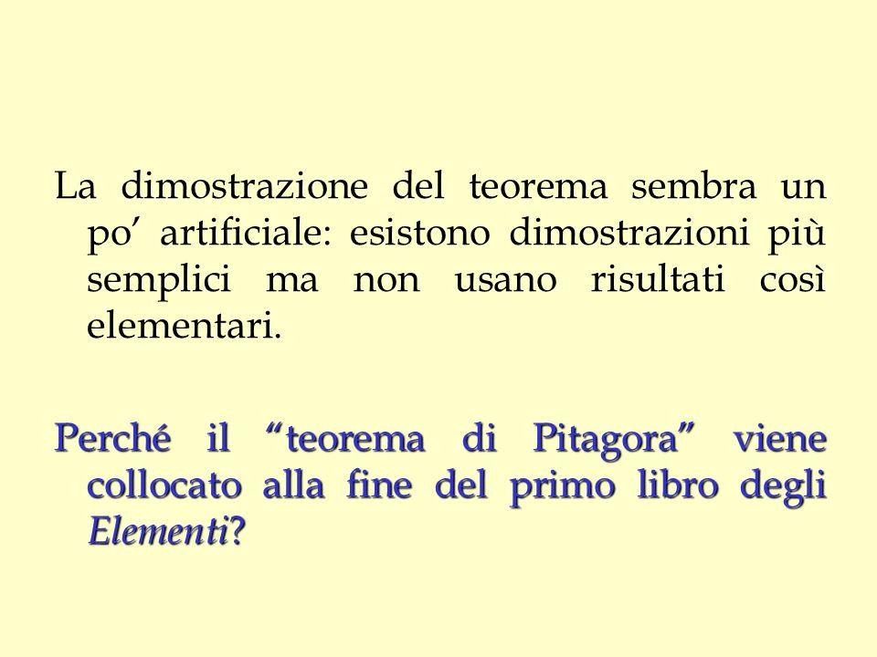 La dimostrazione del teorema sembra un po artificiale: esistono dimostrazioni più semplici ma non usano risultati così elementari. Perché il teorema d