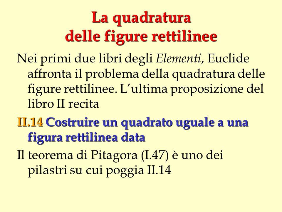 La quadratura delle figure rettilinee Nei primi due libri degli Elementi, Euclide affronta il problema della quadratura delle figure rettilinee. Lulti