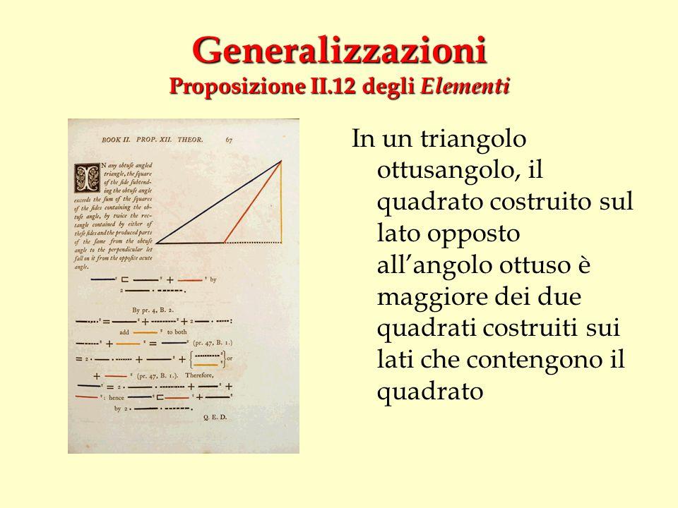 Generalizzazioni Proposizione II.12 degli Elementi In un triangolo ottusangolo, il quadrato costruito sul lato opposto allangolo ottuso è maggiore dei