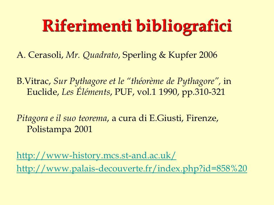 Riferimenti bibliografici A. Cerasoli, Mr. Quadrato, Sperling & Kupfer 2006 B.Vitrac, Sur Pythagore et le théorème de Pythagore, in Euclide, Les Éléme