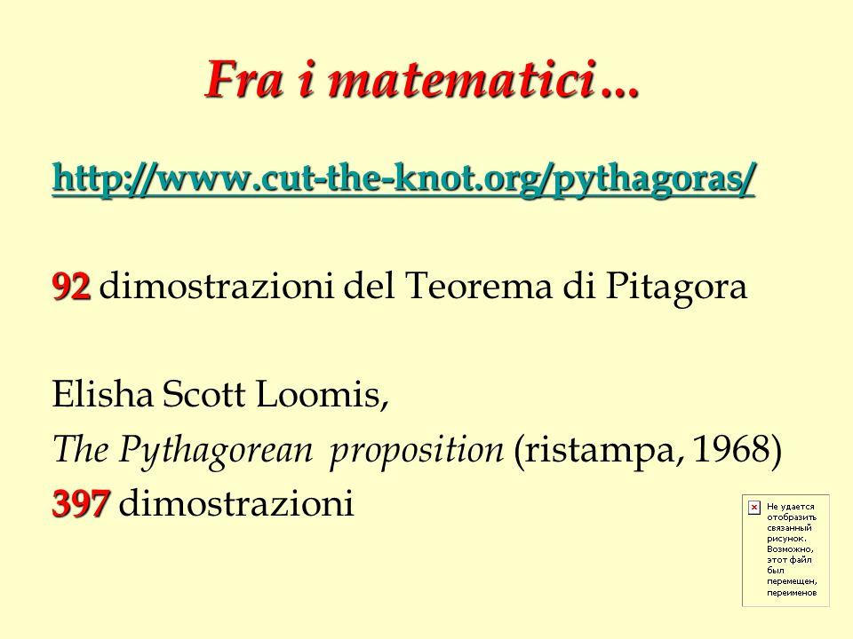 Fra i matematici… http://www.cut-the-knot.org/pythagoras/ 92 92 dimostrazioni del Teorema di Pitagora Elisha Scott Loomis, The Pythagorean proposition