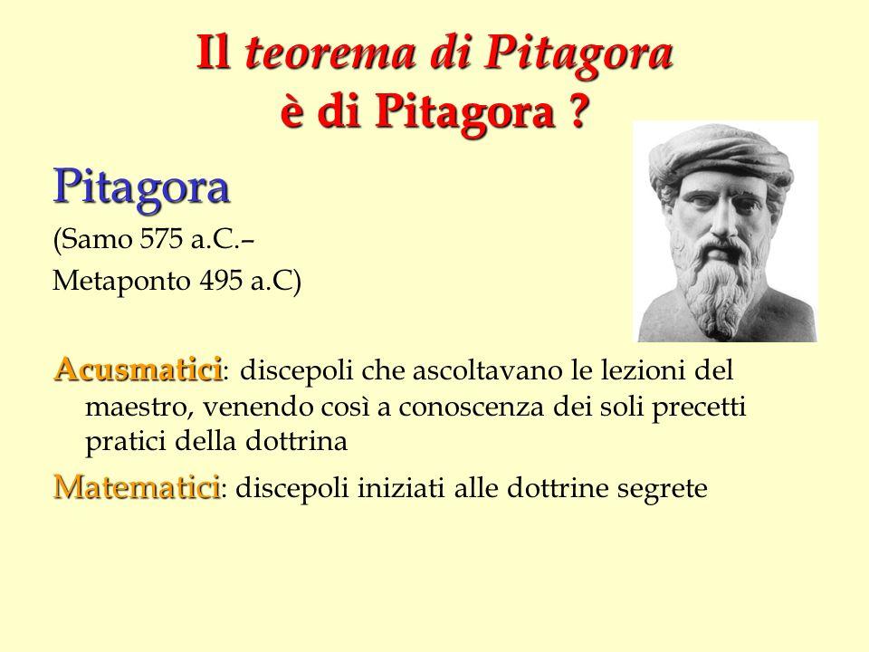 Il teorema di Pitagora è di Pitagora ? Pitagora (Samo 575 a.C.– Metaponto 495 a.C) Acusmatici Acusmatici : discepoli che ascoltavano le lezioni del ma