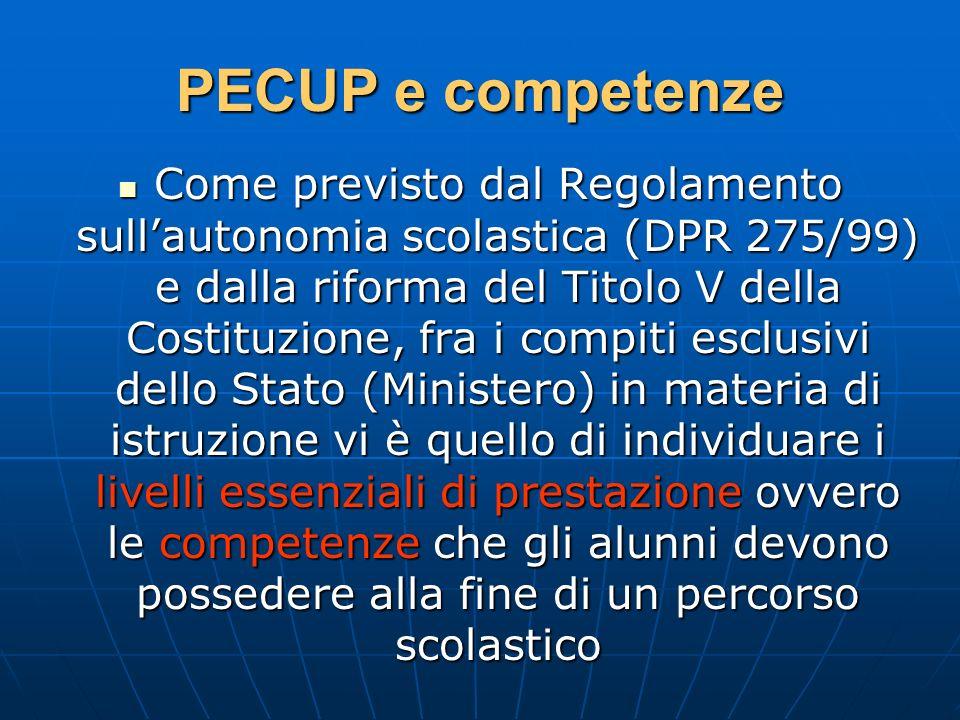 PECUP e competenze Come previsto dal Regolamento sullautonomia scolastica (DPR 275/99) e dalla riforma del Titolo V della Costituzione, fra i compiti