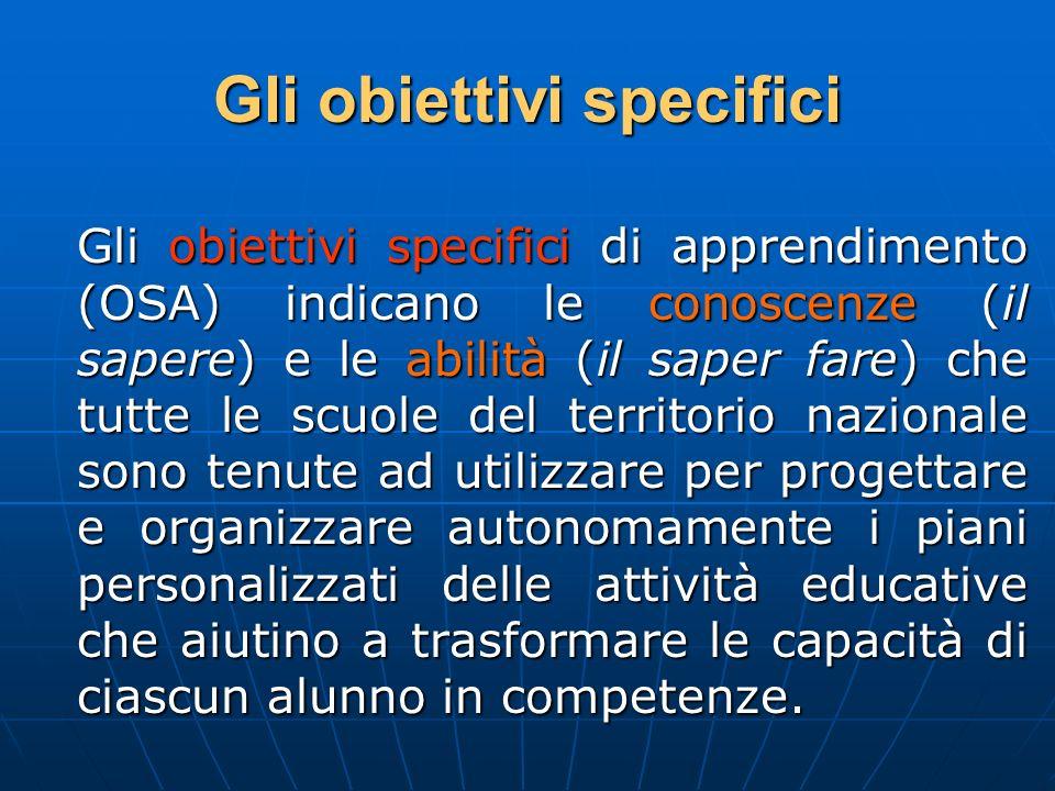 Gli obiettivi specifici Gli obiettivi specifici di apprendimento (OSA) indicano le conoscenze (il sapere) e le abilità (il saper fare) che tutte le sc