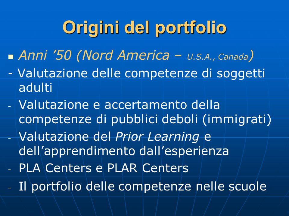 Origini del portfolio Anni 50 (Nord America – U.S.A., Canada ) - Valutazione delle competenze di soggetti adulti - - Valutazione e accertamento della
