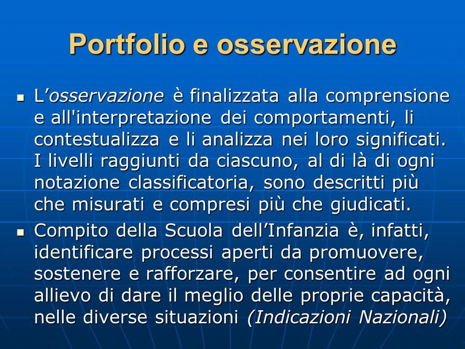 Portfolio e osservazione Losservazione è finalizzata alla comprensione e all'interpretazione dei comportamenti, li contestualizza e li analizza nei lo