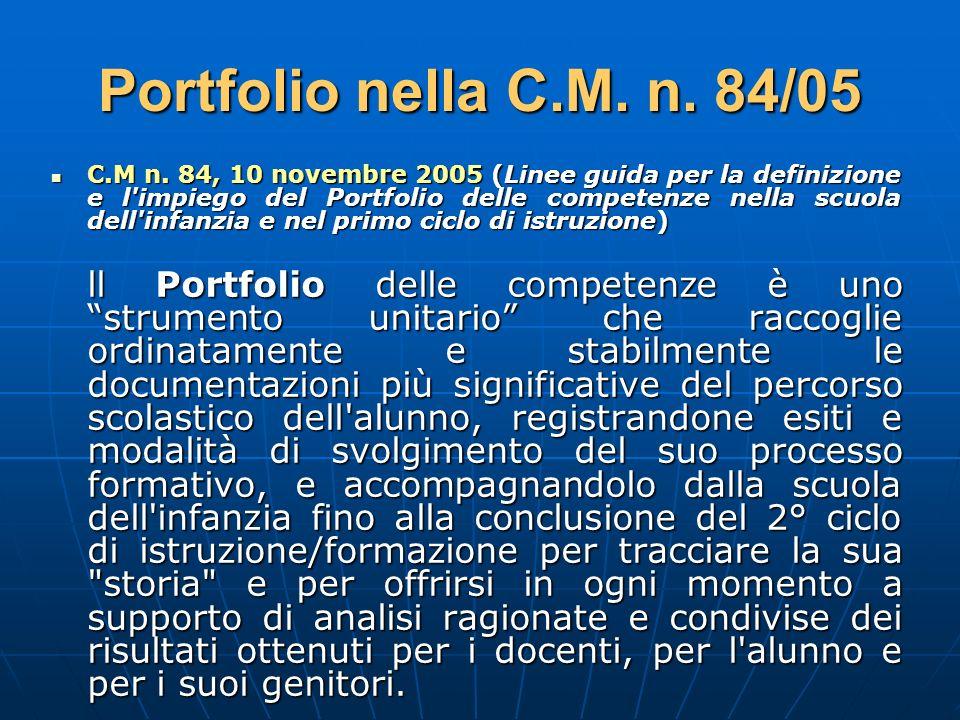 Portfolio nella C.M. n. 84/05 C.M n. 84, 10 novembre 2005 (Linee guida per la definizione e l'impiego del Portfolio delle competenze nella scuola dell