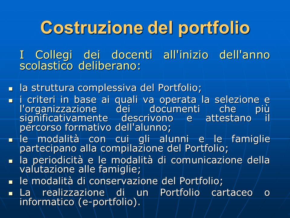 Costruzione del portfolio I Collegi dei docenti all'inizio dell'anno scolastico deliberano: la struttura complessiva del Portfolio; la struttura compl