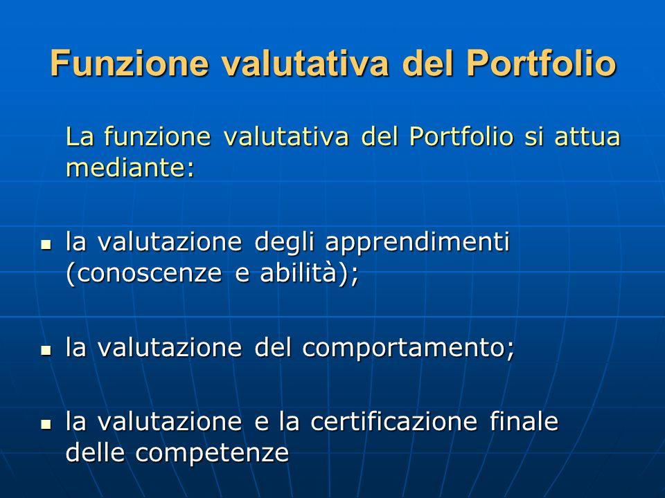 Funzione valutativa del Portfolio La funzione valutativa del Portfolio si attua mediante: la valutazione degli apprendimenti (conoscenze e abilità); l