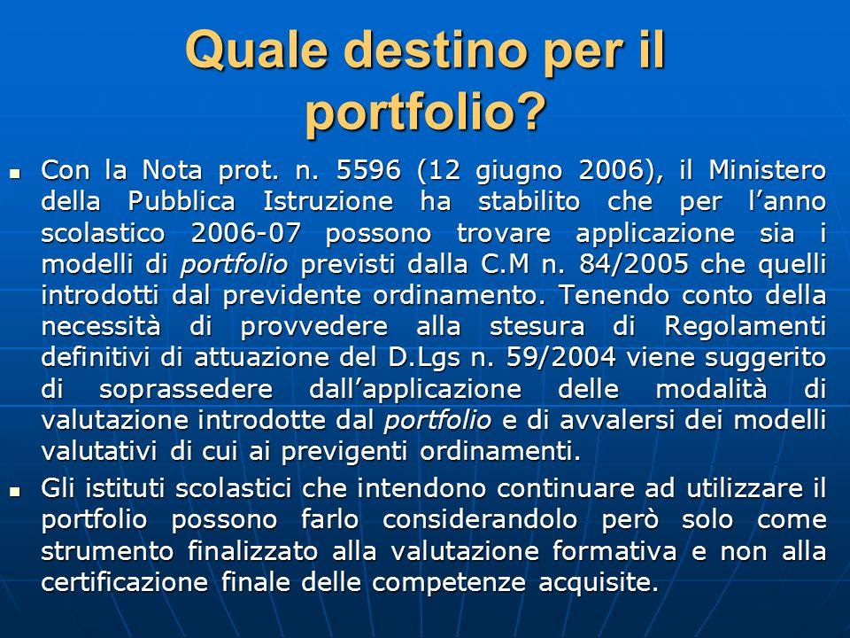Quale destino per il portfolio? Con la Nota prot. n. 5596 (12 giugno 2006), il Ministero della Pubblica Istruzione ha stabilito che per lanno scolasti