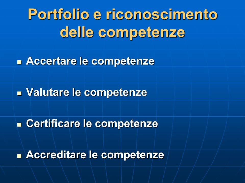 Portfolio e riconoscimento delle competenze Accertare le competenze Accertare le competenze Valutare le competenze Valutare le competenze Certificare