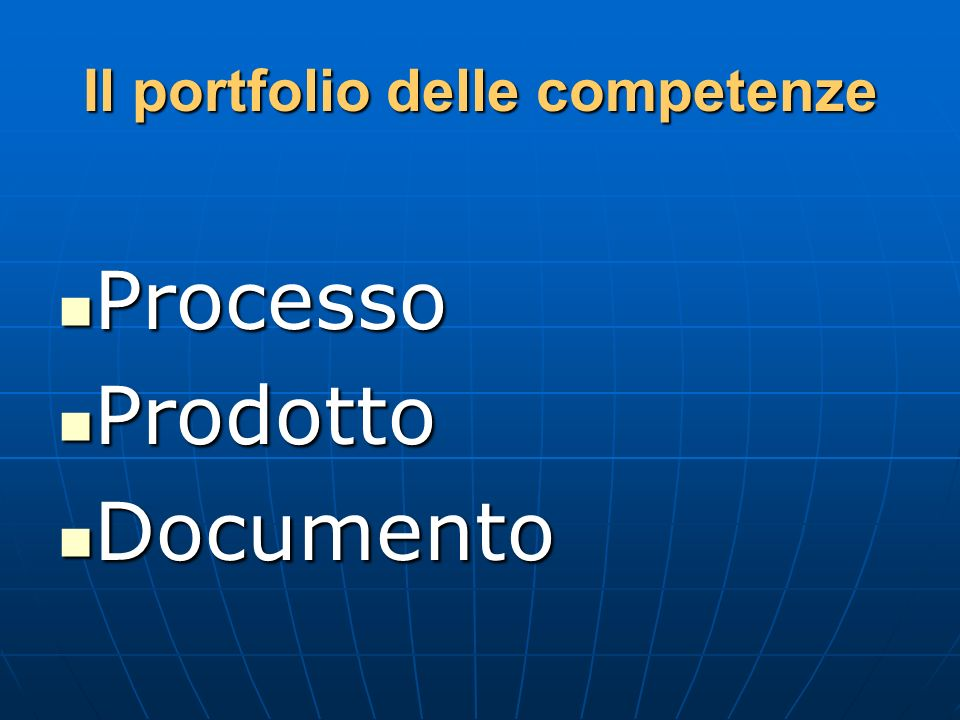 Il portfolio delle competenze Processo Processo Prodotto Prodotto Documento Documento