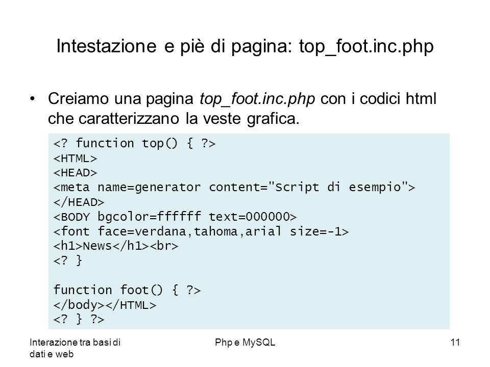 Interazione tra basi di dati e web Php e MySQL11 Intestazione e piè di pagina: top_foot.inc.php Creiamo una pagina top_foot.inc.php con i codici html