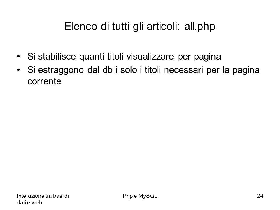 Interazione tra basi di dati e web Php e MySQL24 Elenco di tutti gli articoli: all.php Si stabilisce quanti titoli visualizzare per pagina Si estraggo