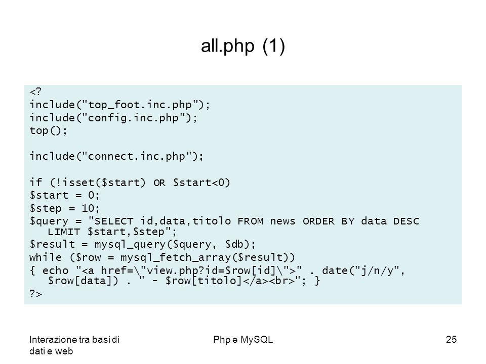 Interazione tra basi di dati e web Php e MySQL25 all.php (1) <? include(