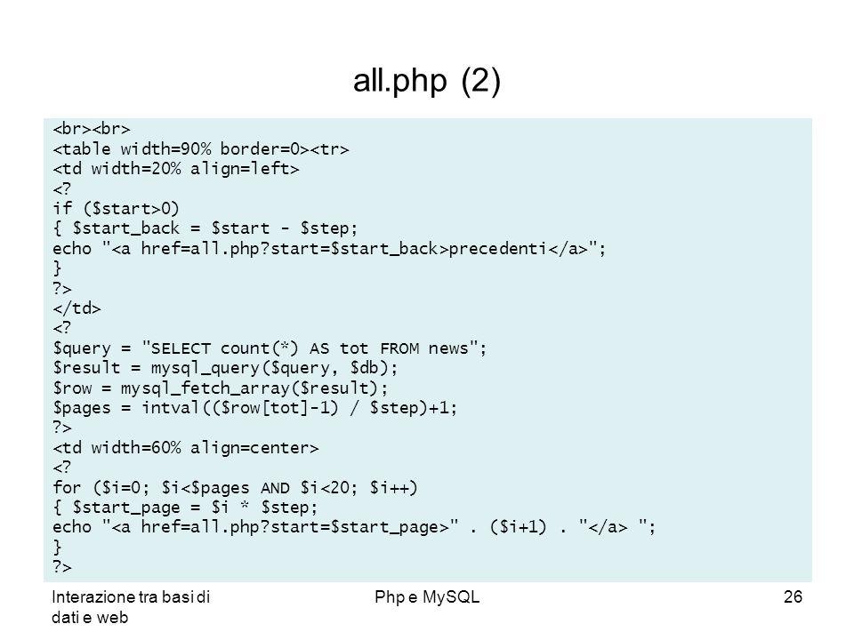 Interazione tra basi di dati e web Php e MySQL26 all.php (2) <? if ($start>0) { $start_back = $start - $step; echo