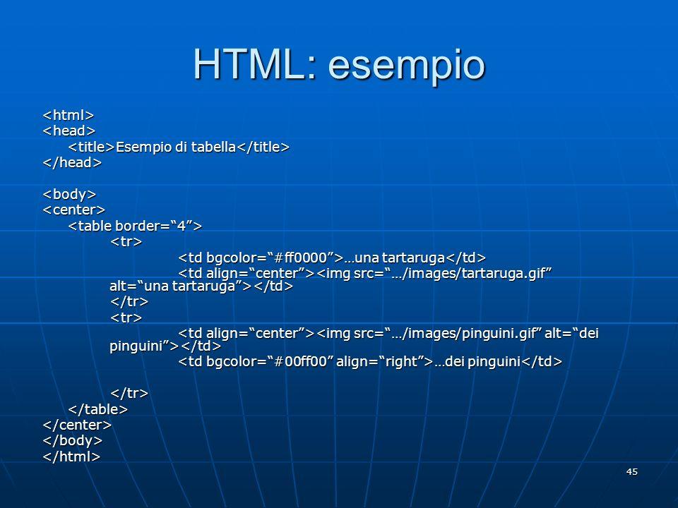 45 HTML: esempio <html><head> Esempio di tabella Esempio di tabella </head><body><center> <tr> …una tartaruga …una tartaruga </tr><tr> …dei pinguini …