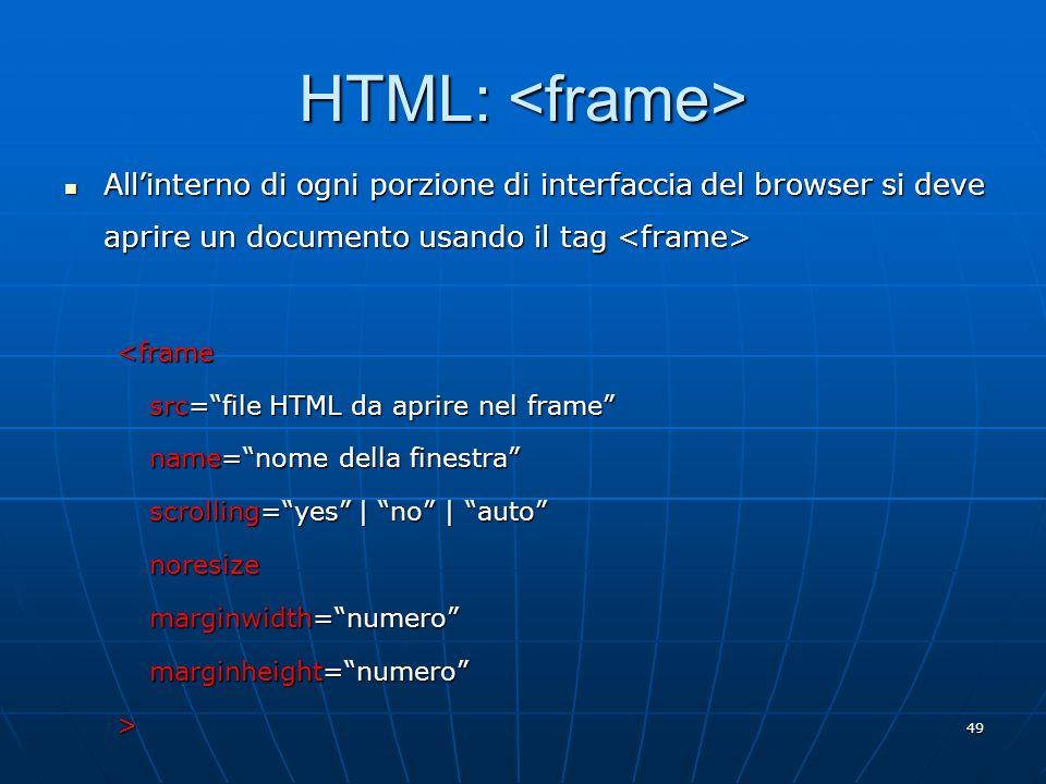 49 HTML: HTML: Allinterno di ogni porzione di interfaccia del browser si deve aprire un documento usando il tag Allinterno di ogni porzione di interfa