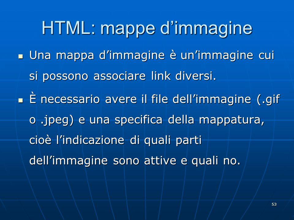 53 HTML: mappe dimmagine Una mappa dimmagine è unimmagine cui si possono associare link diversi. Una mappa dimmagine è unimmagine cui si possono assoc