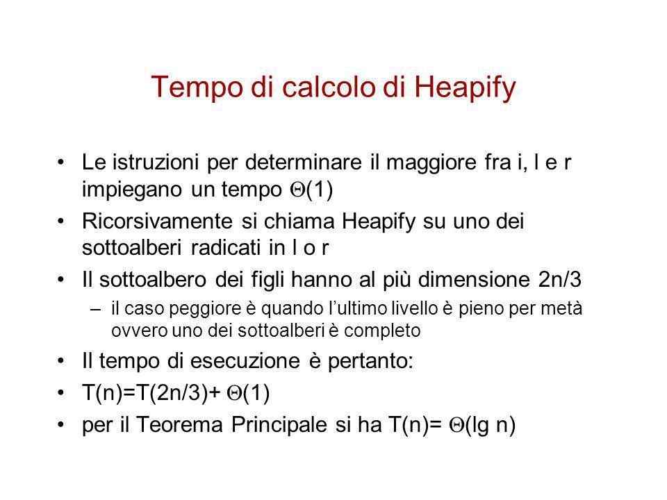Costruzione di uno heap Si può usare la procedura Heapify in modo bottom- up, cioè a partire dai livelli più bassi dellalbero, per convertire un Array in uno Heap Gli elementi A[ n/2 +1..
