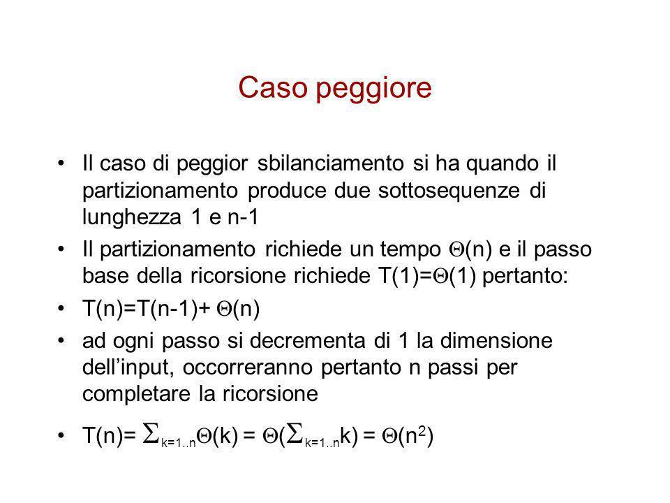 Caso migliore Il caso migliore si ha se ad ogni partizionamento di divide in due sottosequenze di dimensione identica linput in questo caso si ha, come nel caso del MergeSort –T(n)=2T(n/2)+ (n) ovvero, per il Teorema Principale: –T(n)= (n lg n)
