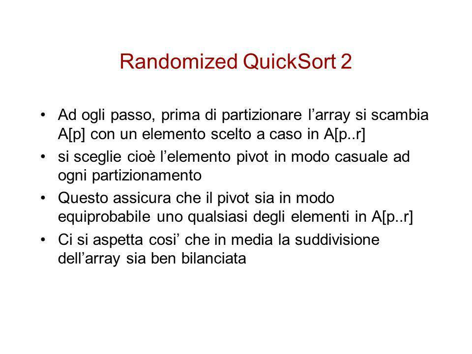 PseudoCodice Randomized-Partition(A,p,r) 1i Random(p,r) 2scambia A[p] A[i] 3return Partition(A,p,r) Randomized-QuickSort(A,p,r) 1 if p<r 2 then q RandomizedPartition(A,p,r) 3Randomized-Quicksort(A,p,r) 4Randomized-Quicksort(A,q+1,r)