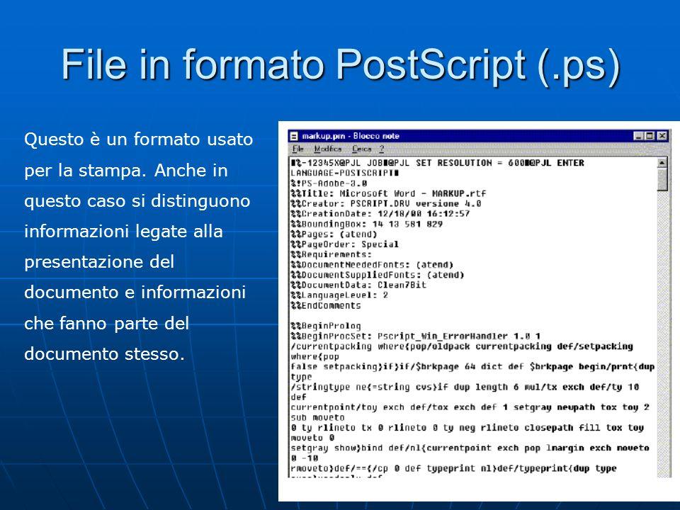 10 File in formato PostScript (.ps) Questo è un formato usato per la stampa. Anche in questo caso si distinguono informazioni legate alla presentazion