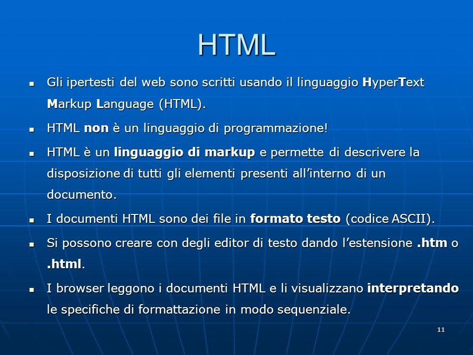 11 HTML Gli ipertesti del web sono scritti usando il linguaggio HyperText Markup Language (HTML). Gli ipertesti del web sono scritti usando il linguag