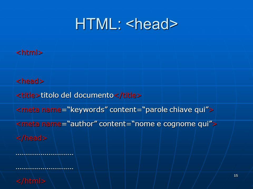 15 HTML: HTML: <html><head> titolo del documento titolo del documento </head>……………………………………………………</html>