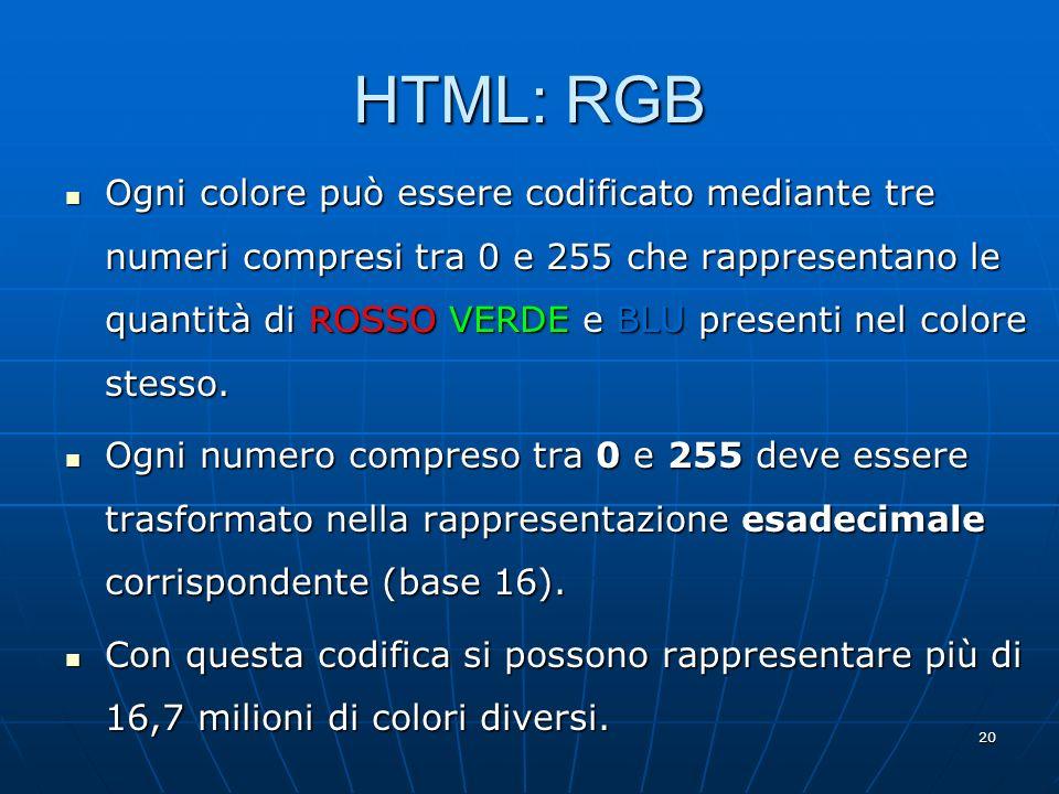 20 HTML: RGB Ogni colore può essere codificato mediante tre numeri compresi tra 0 e 255 che rappresentano le quantità di ROSSO VERDE e BLU presenti ne