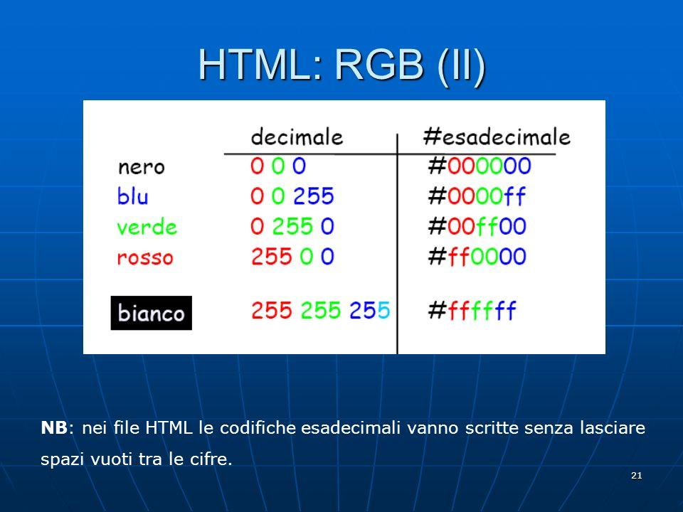 21 HTML: RGB (II) NB: nei file HTML le codifiche esadecimali vanno scritte senza lasciare spazi vuoti tra le cifre.