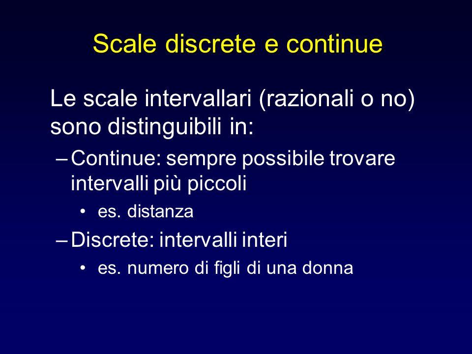 Scale discrete e continue Le scale intervallari (razionali o no) sono distinguibili in: –Continue: sempre possibile trovare intervalli più piccoli es.