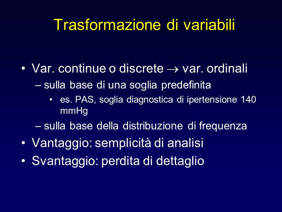 Trasformazione di variabili Var. continue o discrete var. ordinali –sulla base di una soglia predefinita es. PAS, soglia diagnostica di ipertensione 1