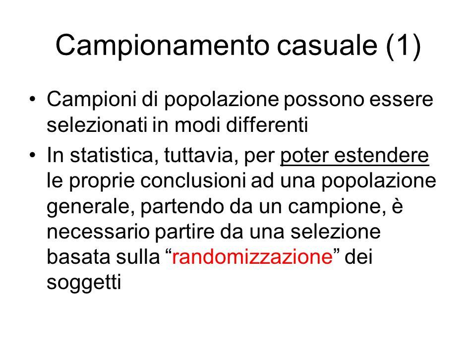 Campionamento casuale (1) Campioni di popolazione possono essere selezionati in modi differenti In statistica, tuttavia, per poter estendere le propri