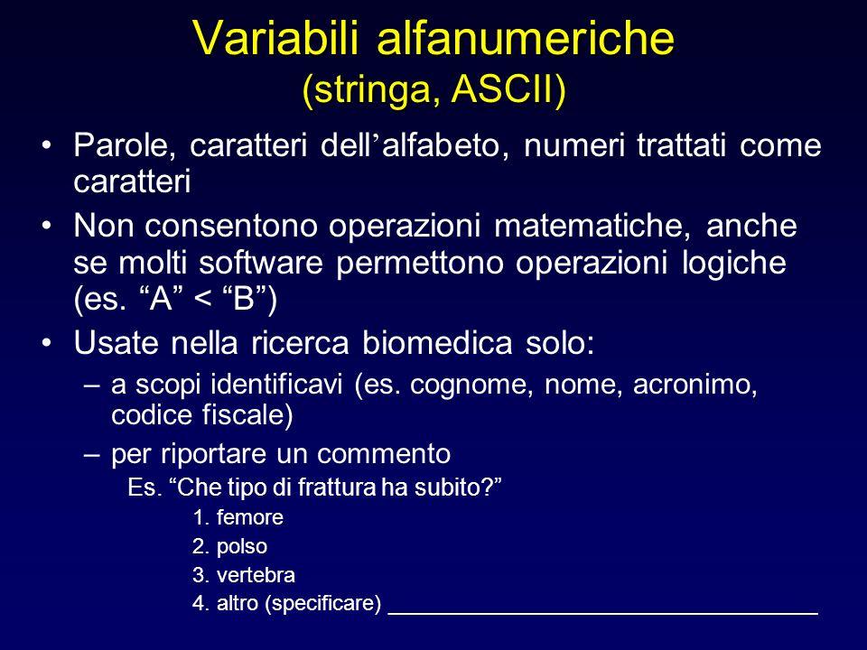 Variabili alfanumeriche (stringa, ASCII) Parole, caratteri dell alfabeto, numeri trattati come caratteri Non consentono operazioni matematiche, anche