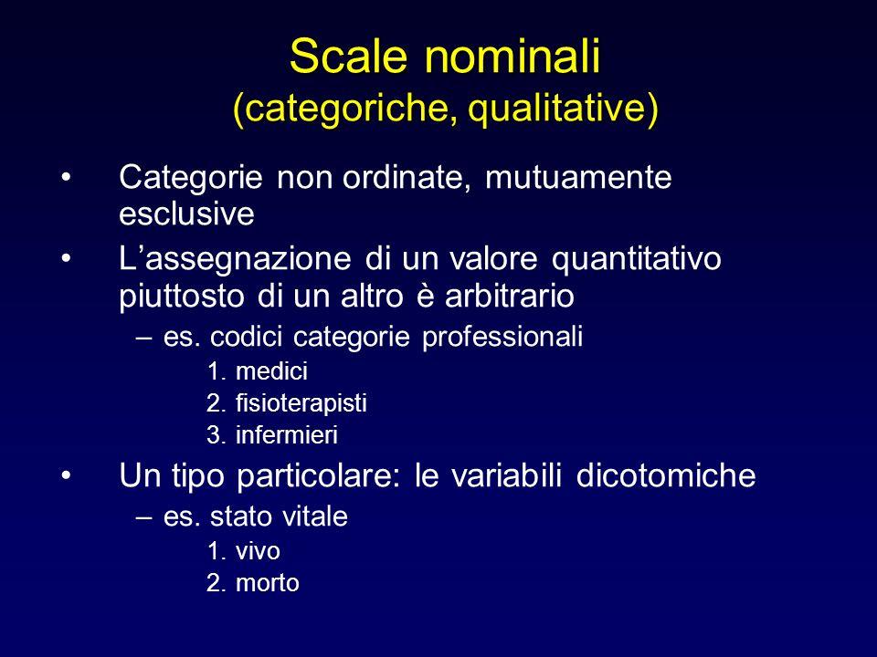 Scale nominali (categoriche, qualitative) Categorie non ordinate, mutuamente esclusive Lassegnazione di un valore quantitativo piuttosto di un altro è