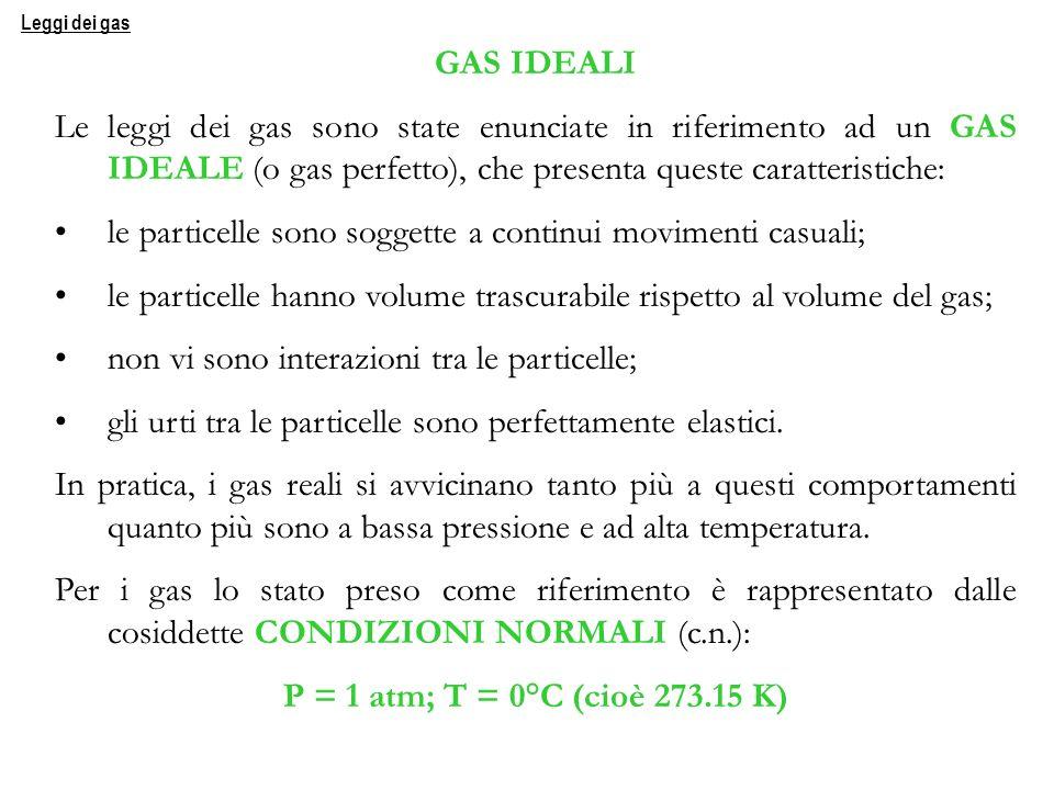 GAS IDEALI Le leggi dei gas sono state enunciate in riferimento ad un GAS IDEALE (o gas perfetto), che presenta queste caratteristiche: le particelle
