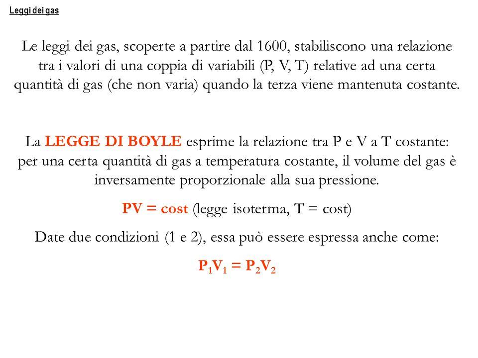 Le leggi dei gas, scoperte a partire dal 1600, stabiliscono una relazione tra i valori di una coppia di variabili (P, V, T) relative ad una certa quan