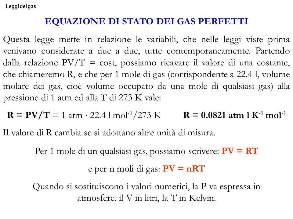 Per 1 mole di un qualsiasi gas, possiamo scrivere: PV = RT e per n moli di gas: PV = nRT Quando si sostituiscono i valori numerici, la P va espressa i