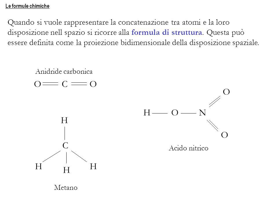 Le formule chimiche Quando si vuole rappresentare la concatenazione tra atomi e la loro disposizione nell spazio si ricorre alla formula di struttura.