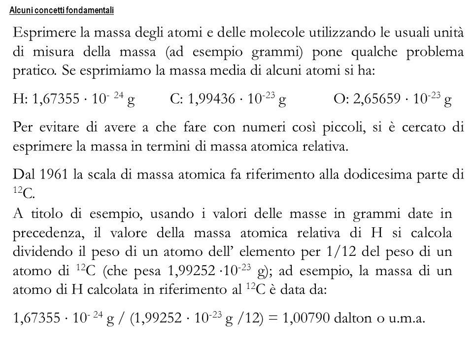 Esprimere la massa degli atomi e delle molecole utilizzando le usuali unità di misura della massa (ad esempio grammi) pone qualche problema pratico. S